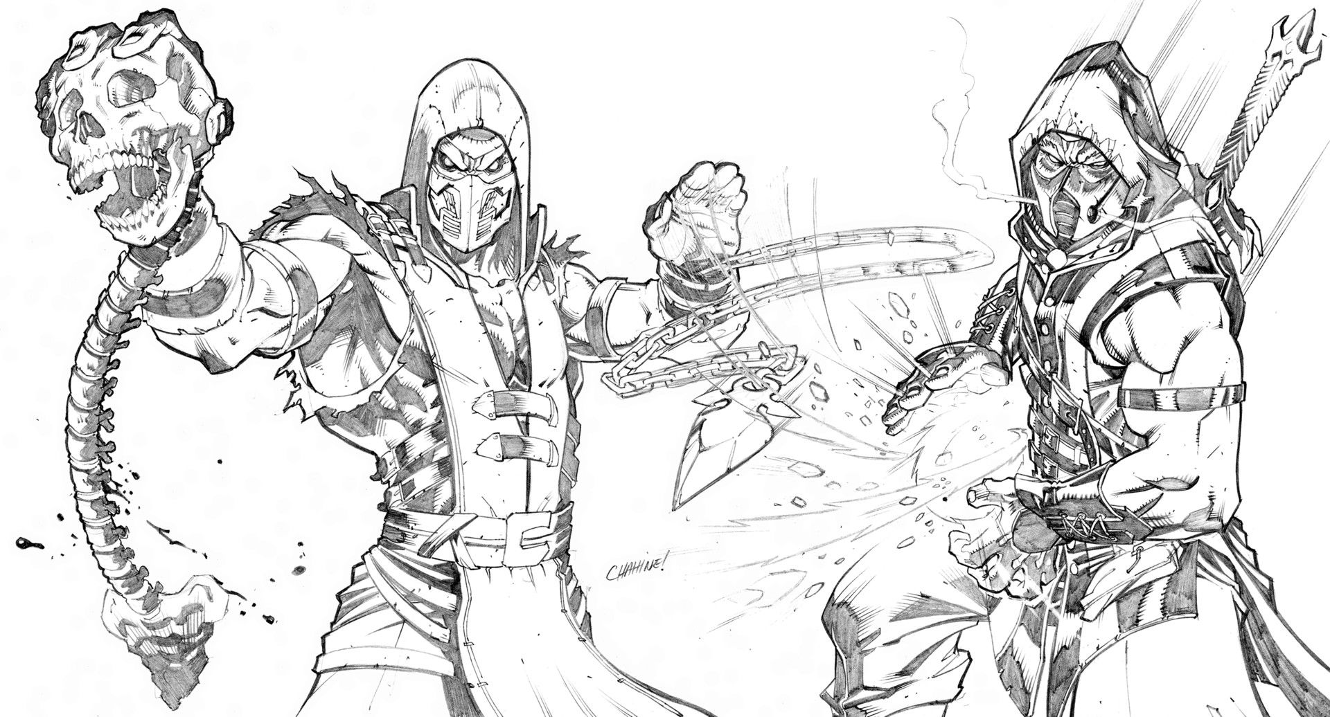персонажи из мортал комбат х карандашом для тюльпана
